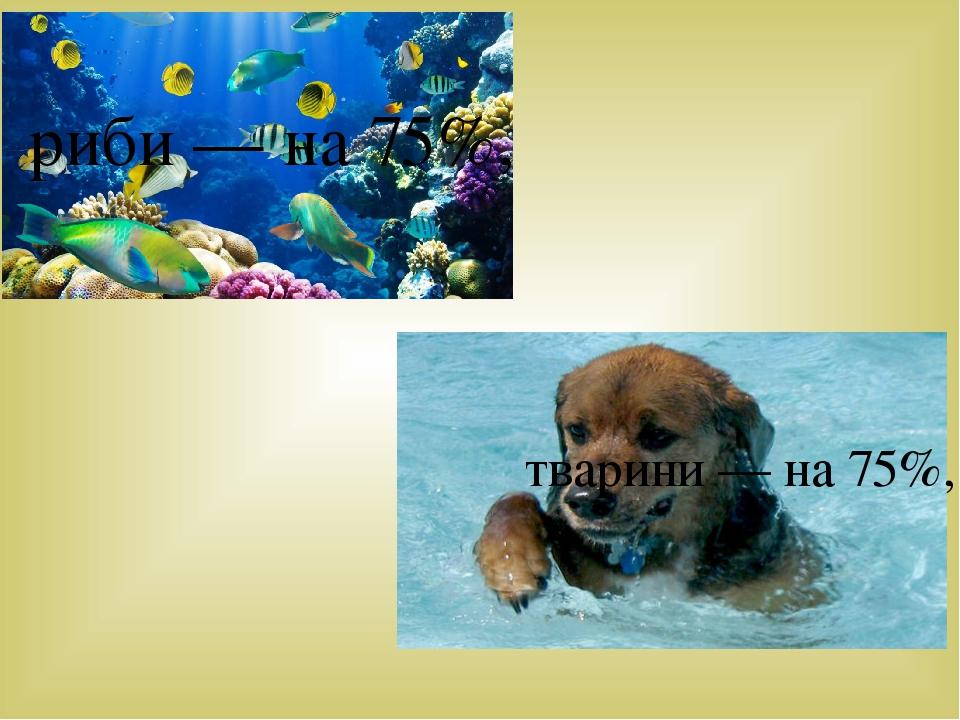 риби — на 75%, тварини — на 75%,