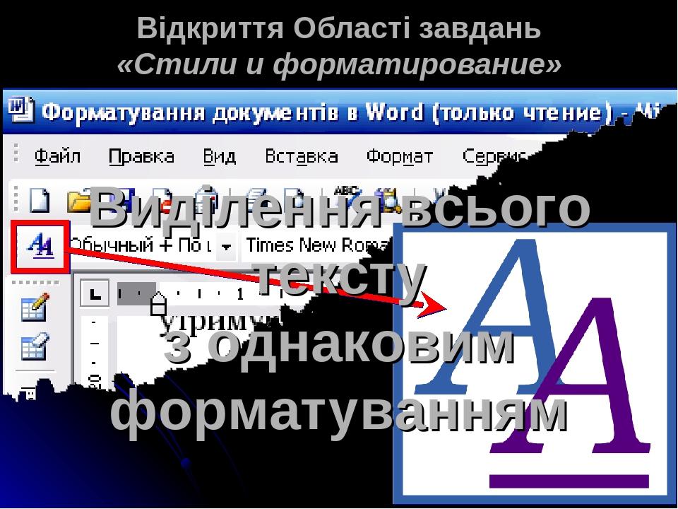 Відкриття Області завдань «Стили и форматирование» Виділення всього тексту з однаковим форматуванням