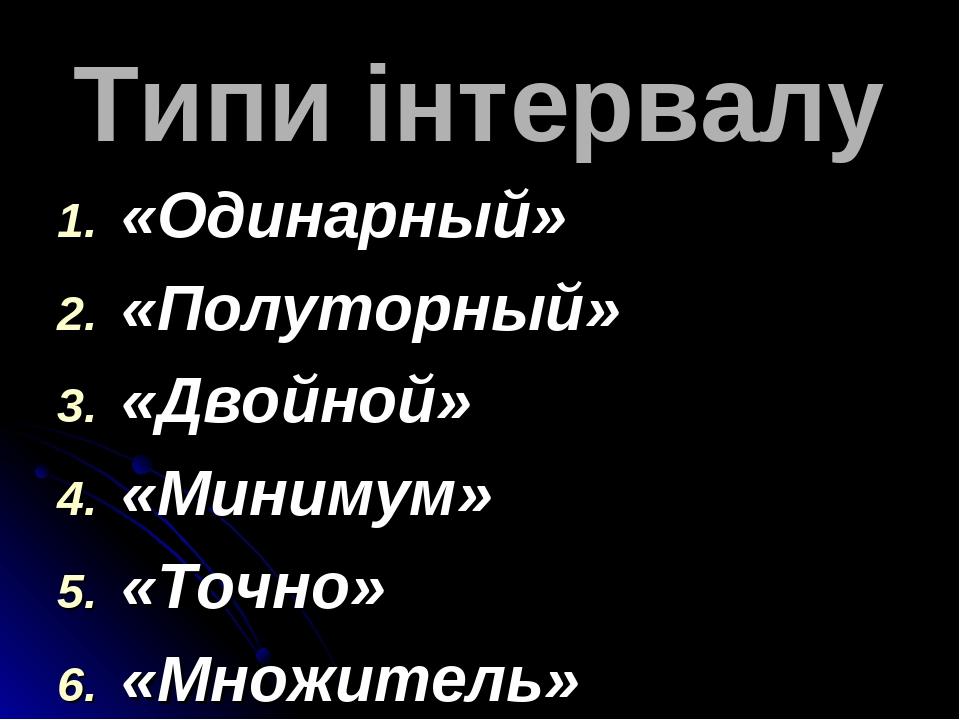 Типи інтервалу «Одинарный» «Полуторный» «Двойной» «Минимум» «Точно» «Множитель»
