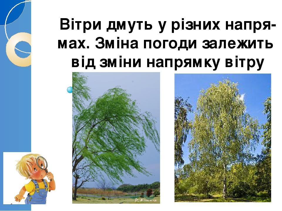 Вітри дмуть у різних напря- мах. Зміна погоди залежить від зміни напрямку вітру