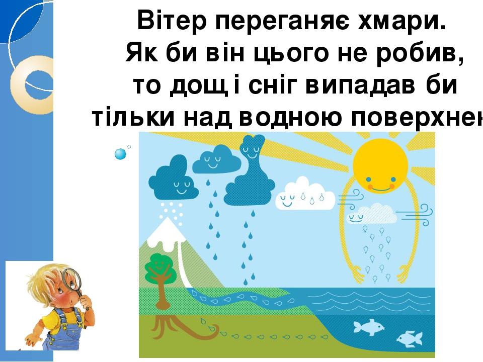 Вітер переганяє хмари. Як би він цього не робив, то дощ і сніг випадав би тільки над водною поверхнею
