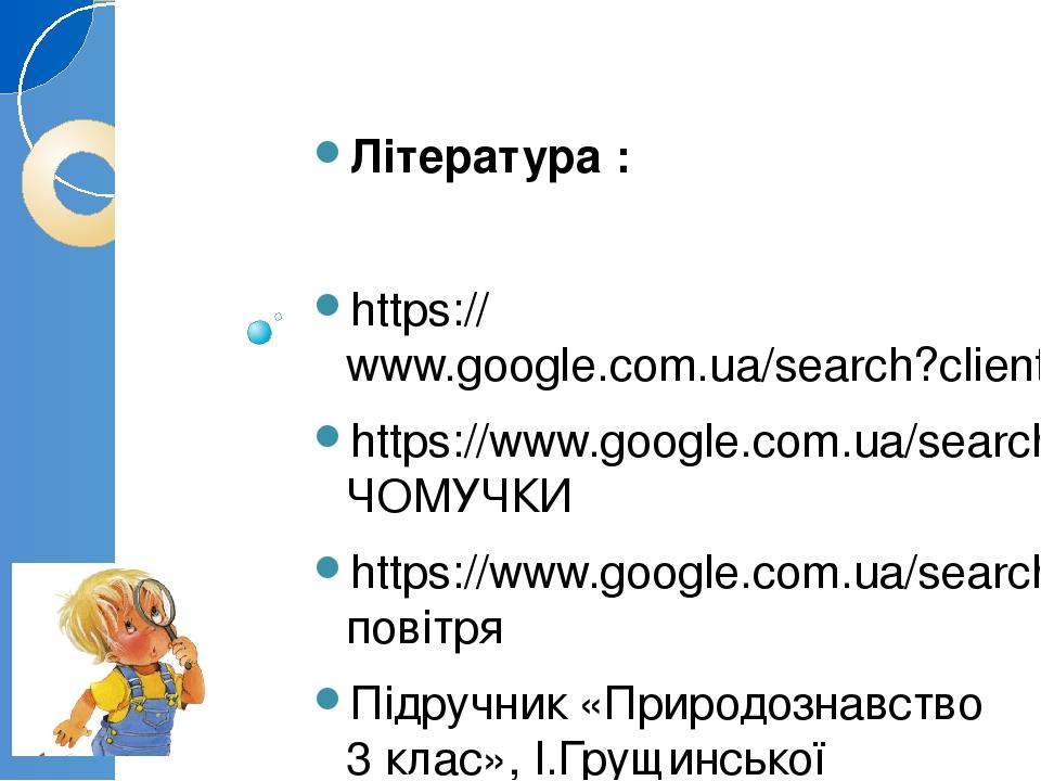 Література : https://www.google.com.ua/search?client=opera&biw https://www.google.com.ua/search?q=ЧОМУЧКИ https://www.google.com.ua/search?q=повітр...