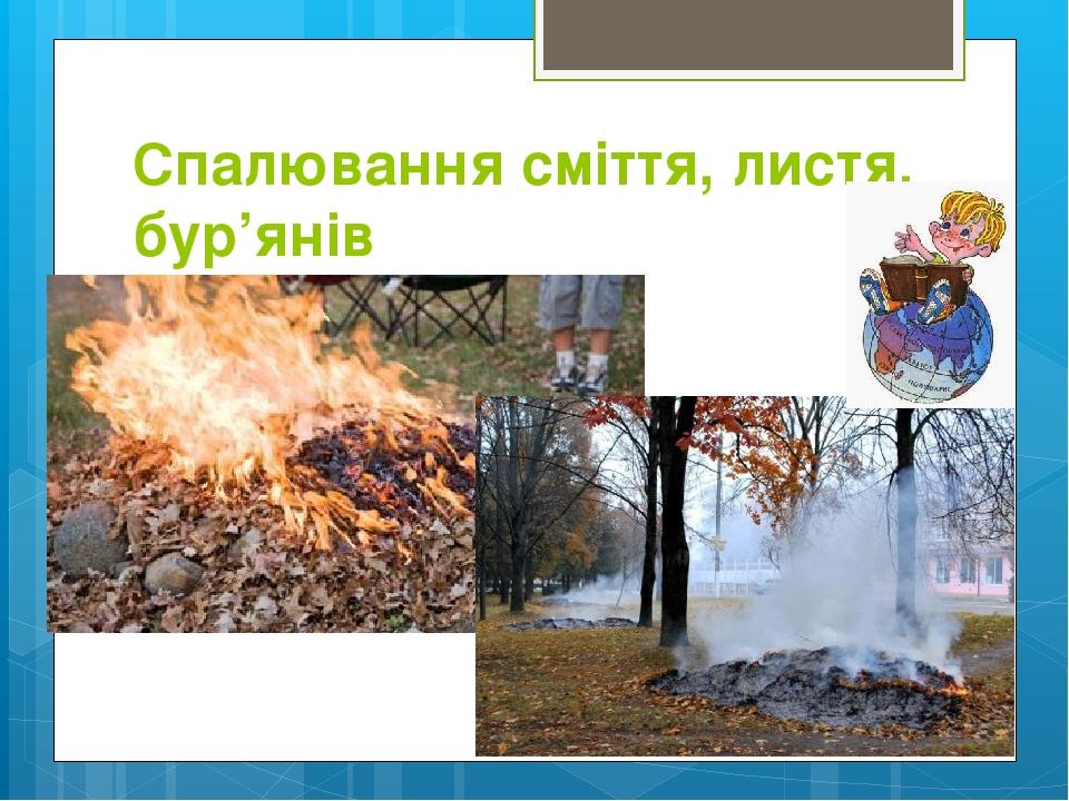 Спалювання сміття, листя, бур'янів
