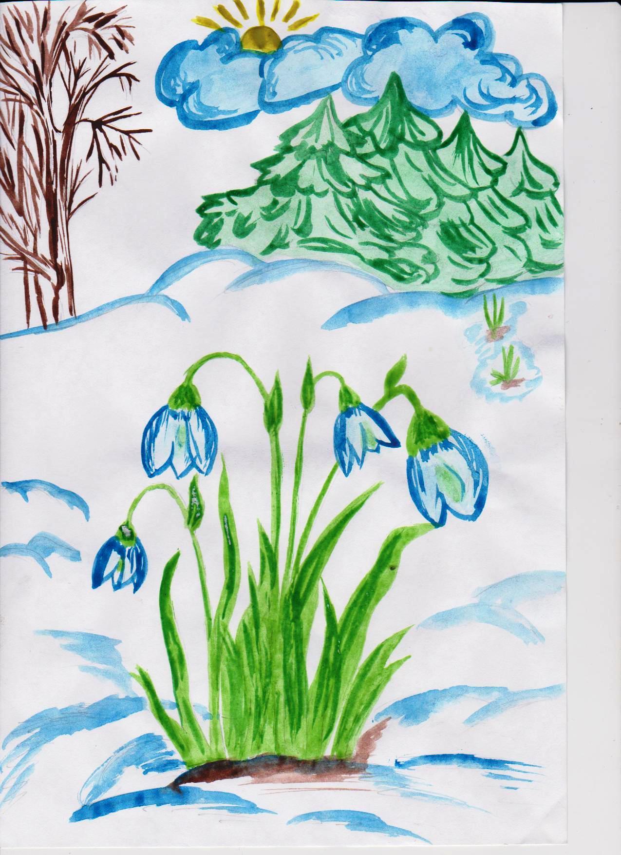 Весна карандашами для детей