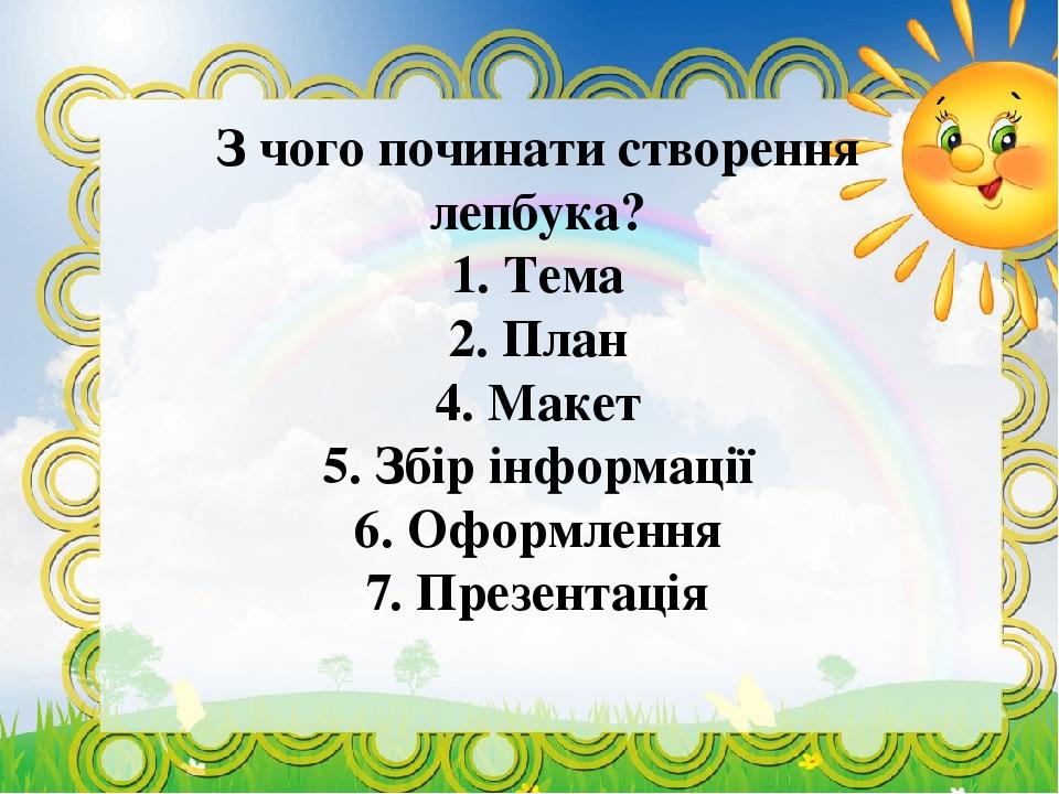 З чого починати створення лепбука? 1. Тема 2. План 4. Макет 5. Збір інформації 6. Оформлення 7. Презентація