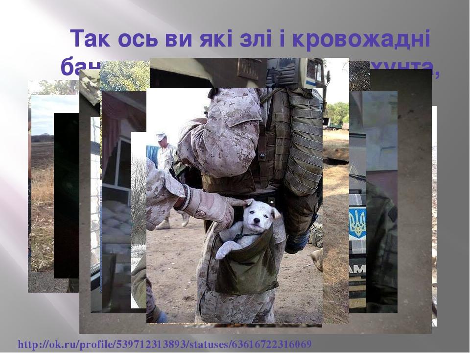 Так ось ви які злі і кровожадні бандерлоги,хохли,укропи,хунта, фашисти... http://ok.ru/profile/539712313893/statuses/63616722316069