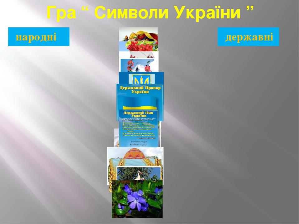 """Гра """" Символи України """" державні народні"""