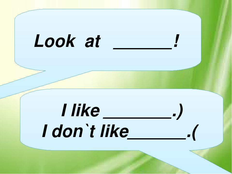 Look at ______! I like _______.) I don`t like______.(