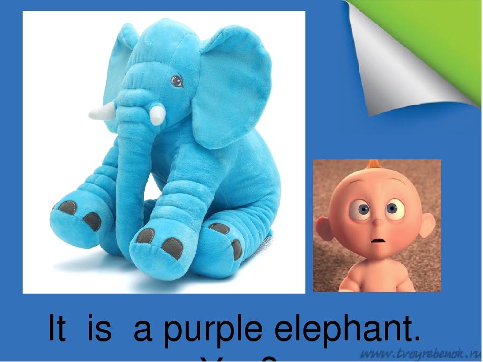 It is a purple elephant. Yes?