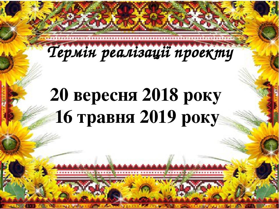 Термін реалізації проекту 20 вересня 2018 року 16 травня 2019 року