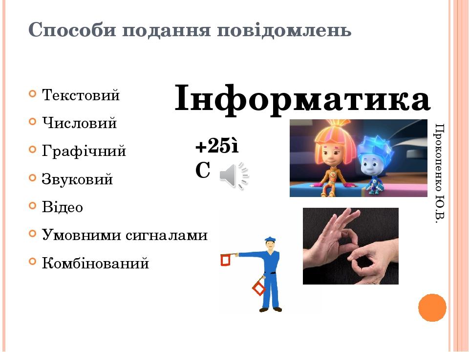 Способи подання повідомлень Текстовий Числовий Графічний Звуковий Відео Умовними сигналами Комбінований Інформатика +25◦С Прокопенко Ю.В.