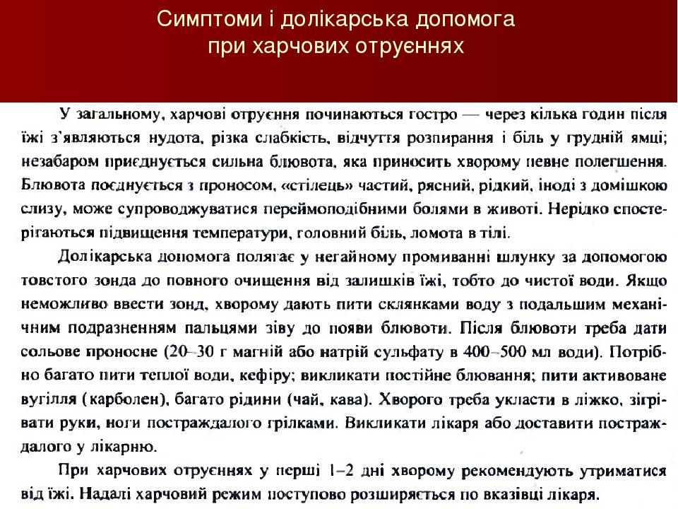 Симптоми і долікарська допомога при харчових отруєннях Савченко Т.Т.