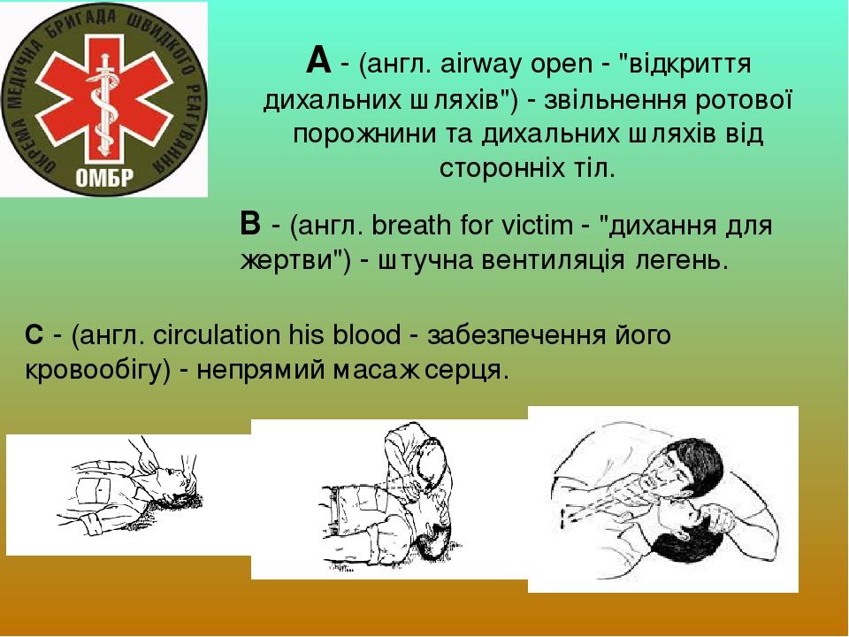 """А - (англ. airway open - """"відкриття дихальних шляхів"""") - звільнення ротової порожнини та дихальних шляхів від сторонніх тіл. В - (англ. breath for ..."""