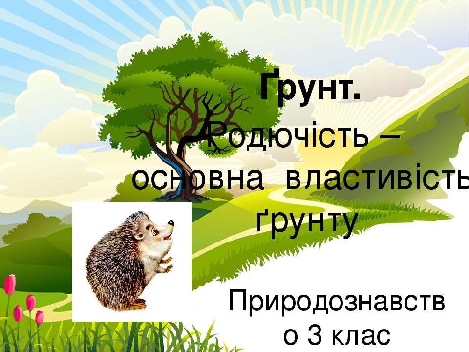Природознавство 3 клас Рудська гімназія Гоцуляк Т.І. Ґрунт. Родючість – основна властивість ґрунту ProPowerPoint.Ru