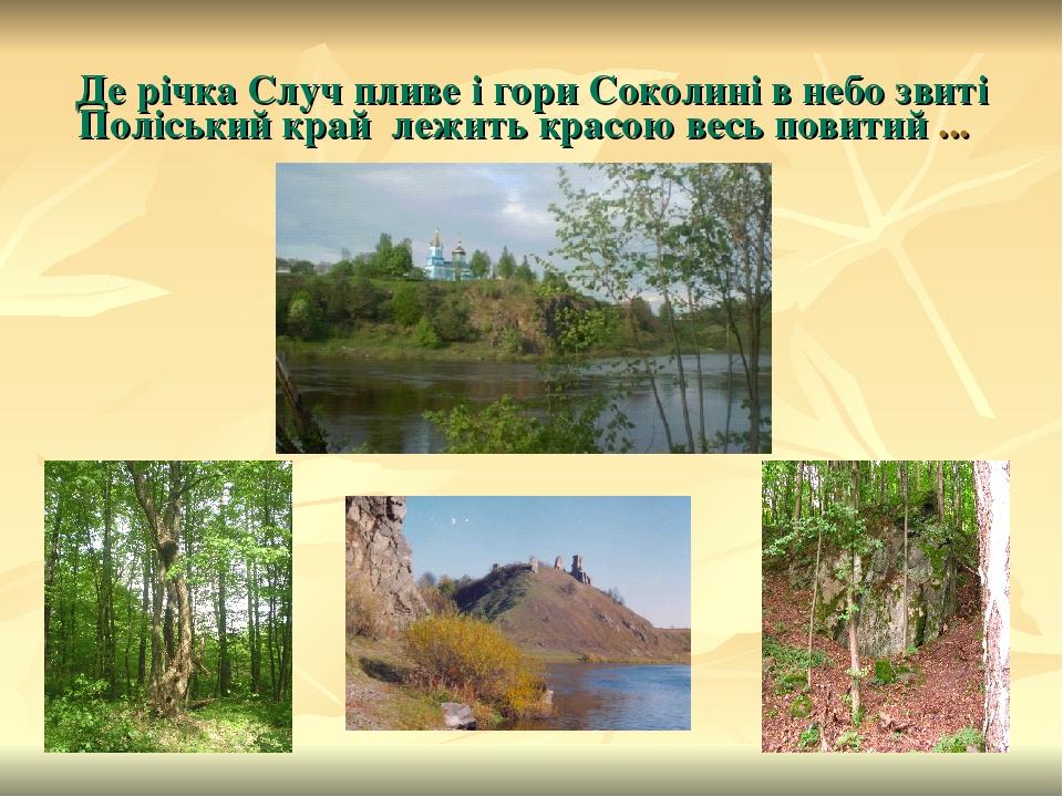 Де річка Случ пливе і гори Соколині в небо звиті Поліський край лежить красою весь повитий ...