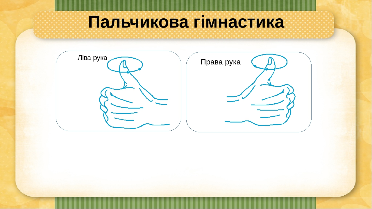 Пальчикова гімнастика Ліва рука Права рука
