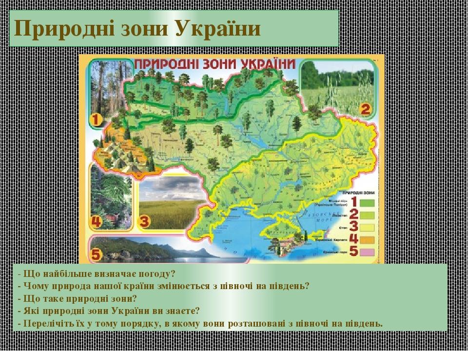 Природні зони України - Що найбільше визначає погоду? - Чому природа нашої країни змінюється з півночі на південь? - Що таке природні зони? - Які п...