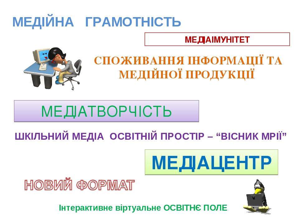 """МЕДІЙНА ГРАМОТНІСТЬ МЕДІАІМУНІТЕТ СПОЖИВАННЯ ІНФОРМАЦІЇ ТА МЕДІЙНОЇ ПРОДУКЦІЇ МЕДІАТВОРЧІСТЬ ШКІЛЬНИЙ МЕДІА ОСВІТНІЙ ПРОСТІР – """"ВІСНИК МРІЇ"""" МЕДІАЦ..."""