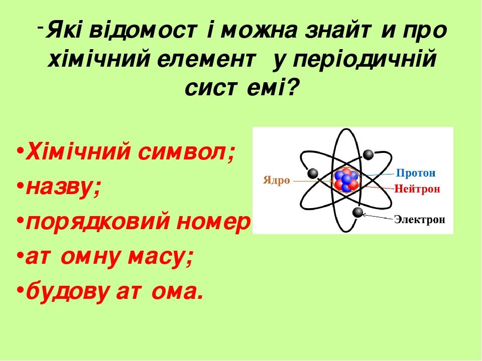 Які відомості можна знайти про хімічний елемент у періодичній системі? Хімічний символ; назву; порядковий номер; атомну масу; будову атома.