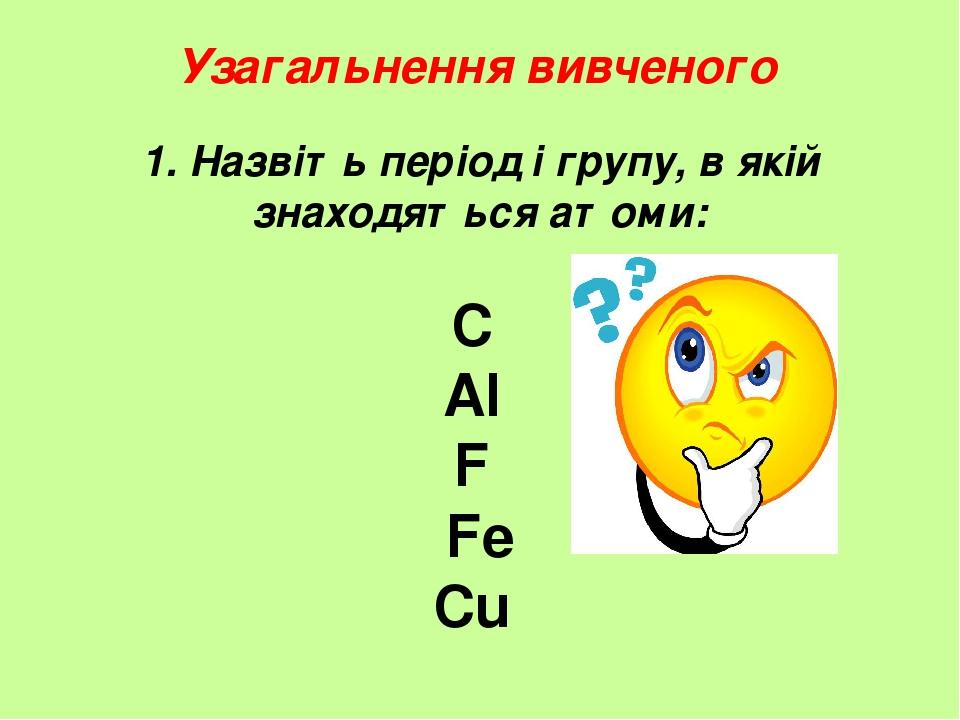 1. Назвіть період і групу, в якій знаходяться атоми: C Al F Fe Cu Узагальнення вивченого