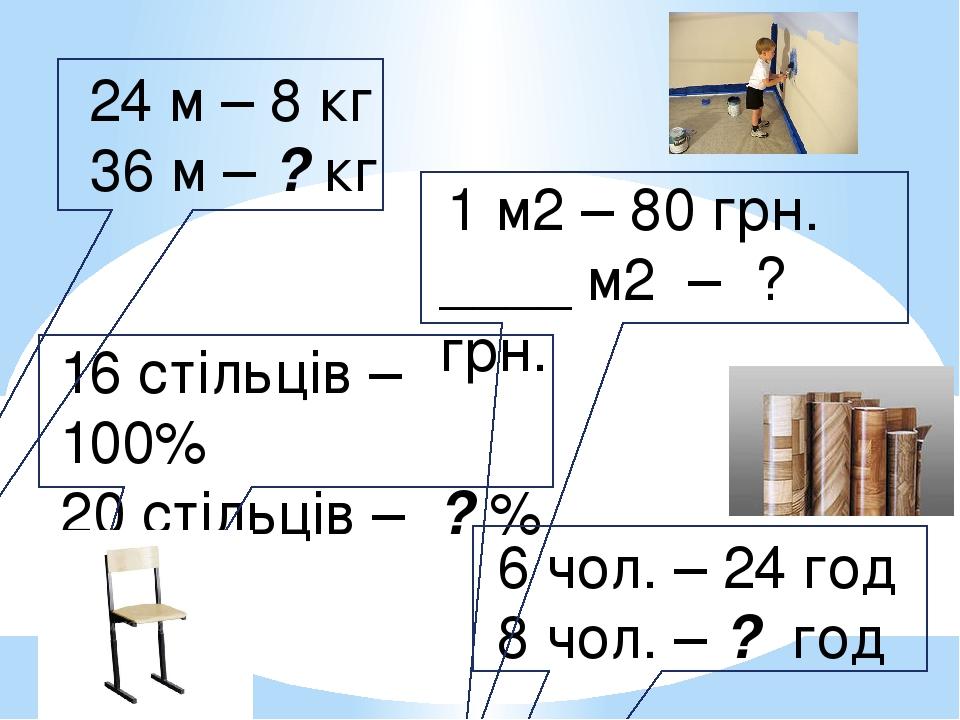 24 м – 8 кг 36 м – ? кг 16 стільців – 100% 20 стільців – ? % 1 м2 – 80 грн. ____ м2 – ? грн. 6 чол. – 24 год 8 чол. – ? год