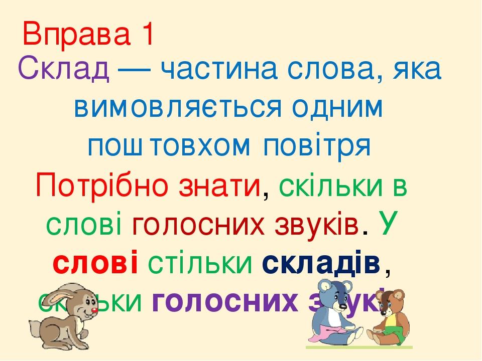 Вправа 1 Склад — частина слова, яка вимовляється одним поштовхом повітря Потрібно знати, скільки в слові голосних звуків. У слові стільки складів, ...