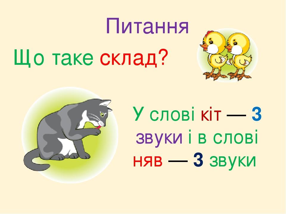Що таке склад? У слові кіт — 3 звуки і в слові няв — 3 звуки Питання