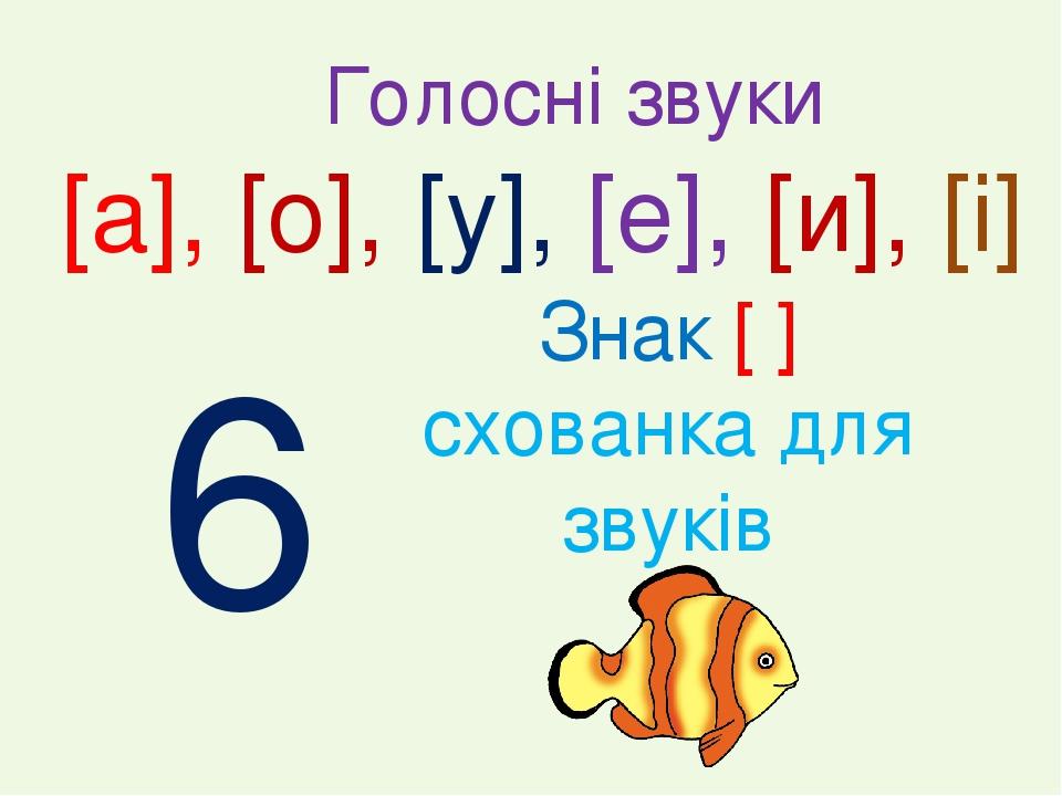 Знак [ ] схованка для звуків [а], [о], [у], [е], [и], [і] Голосні звуки 6