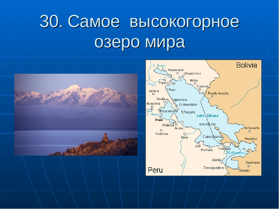 30. Самое высокогорное озеро мира