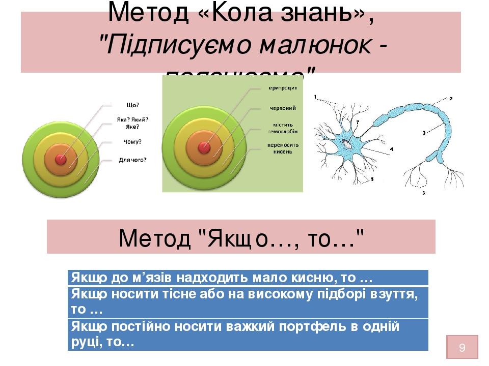 """Метод «Кола знань», """"Підписуємо малюнок - пояснюємо"""" Метод """"Якщо…, то…"""" 9 Якщо до м'язів надходить мало кисню, то … Якщо носити тісне або на високо..."""