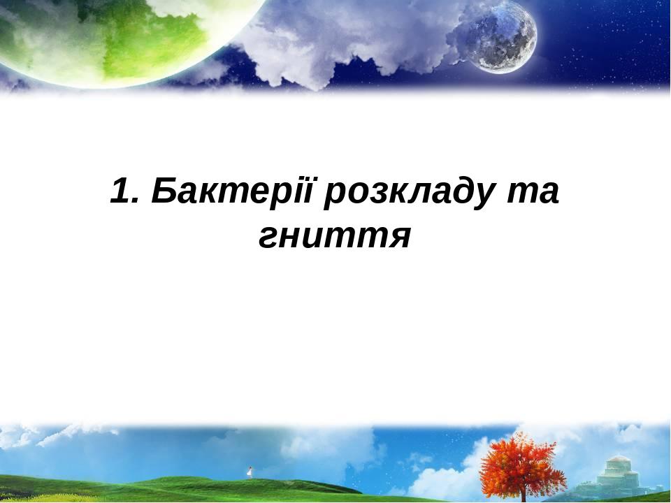 1. Бактерії розкладу та гниття