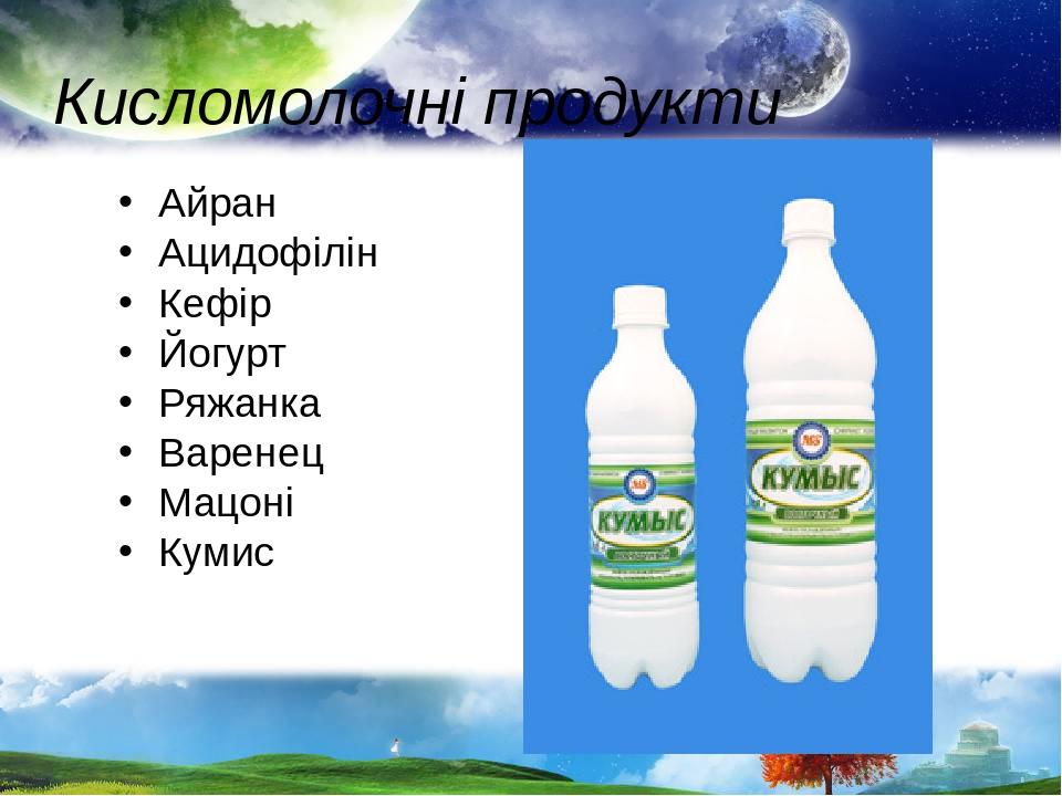 Кисломолочні продукти Айран Ацидофілін Кефір Йогурт Ряжанка Варенец Мацоні Кумис