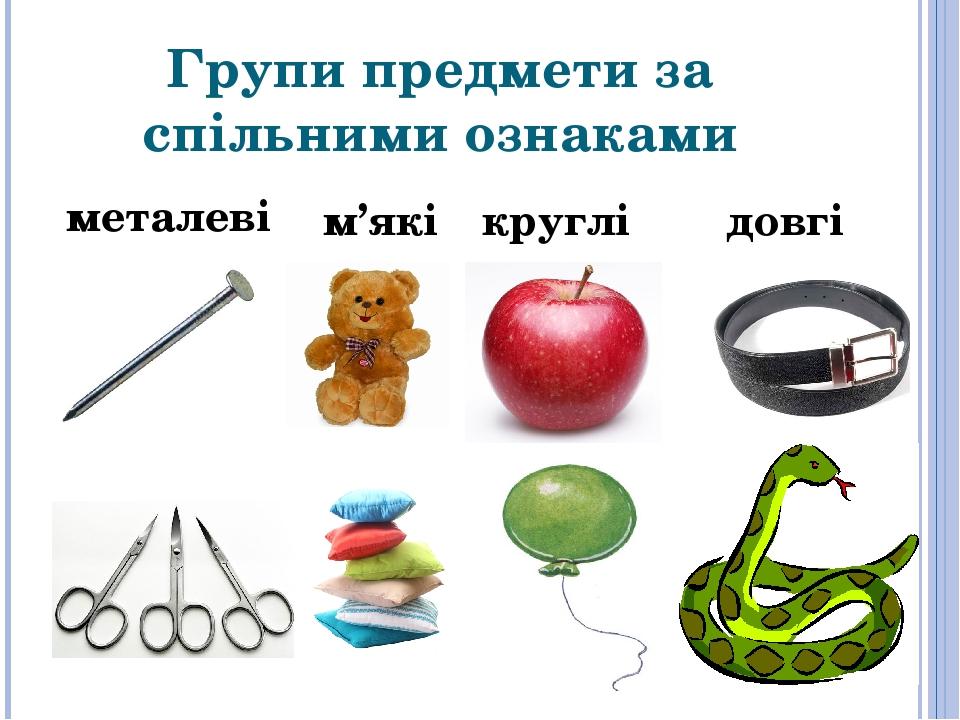 Групи предмети за спільними ознаками круглі м'які металеві довгі