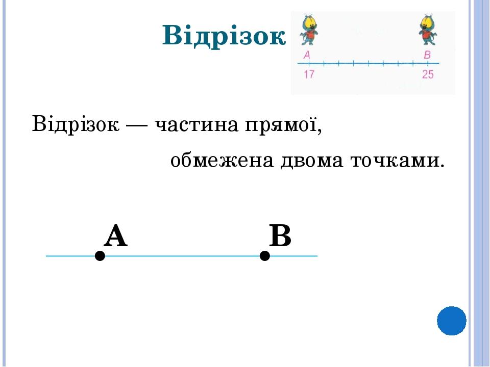 Відрізок Відрізок— частинапрямої, обмежена двоматочками. . . В А