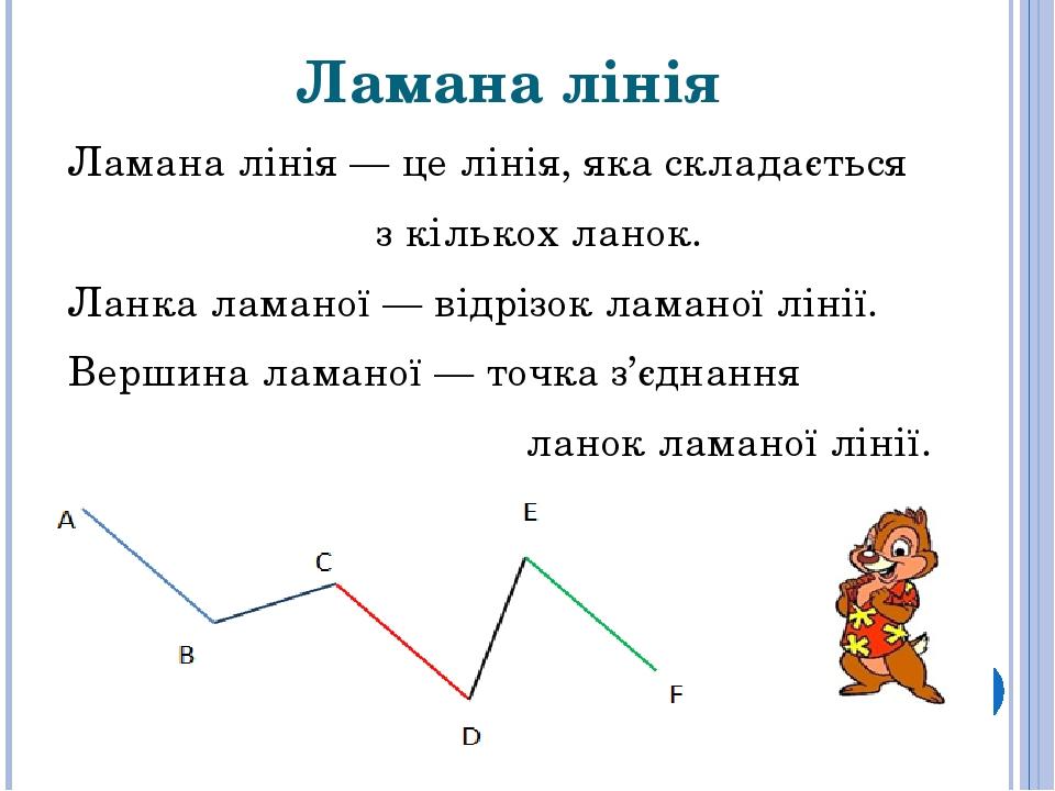 Ламана лінія Ламана лінія— це лінія, яка складається з кількох ланок. Ланка ламаної — відрізокламаної лінії. Вершиналаманої — точка з'єднання л...