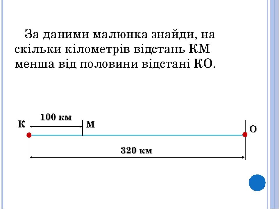 За даними малюнка знайди, на скільки кілометрів відстань КМ менша від половини відстані КО.