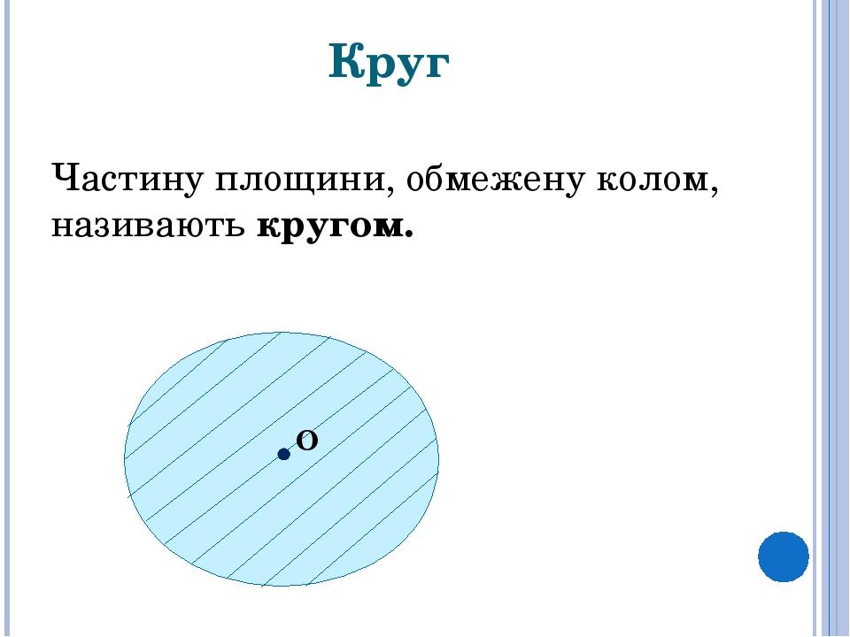 Круг Частину площини, обмежену колом, називають кругом. О