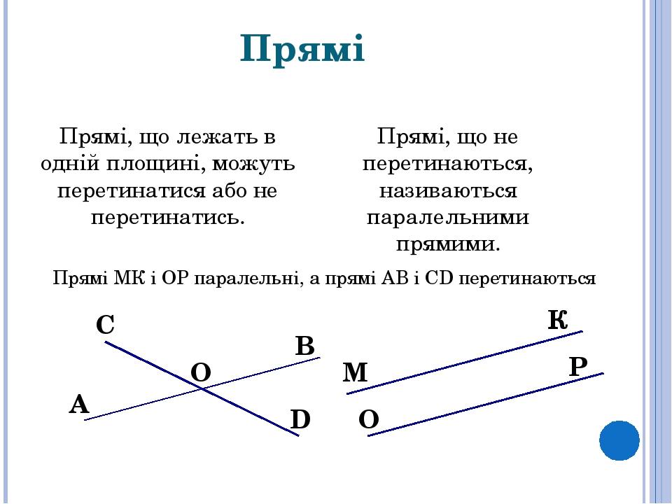 Прямі Прямі, що лежать в одній площині, можуть перетинатися або не перетинатись. Прямі, що не перетинаються, називаються паралельними прямими. О О ...