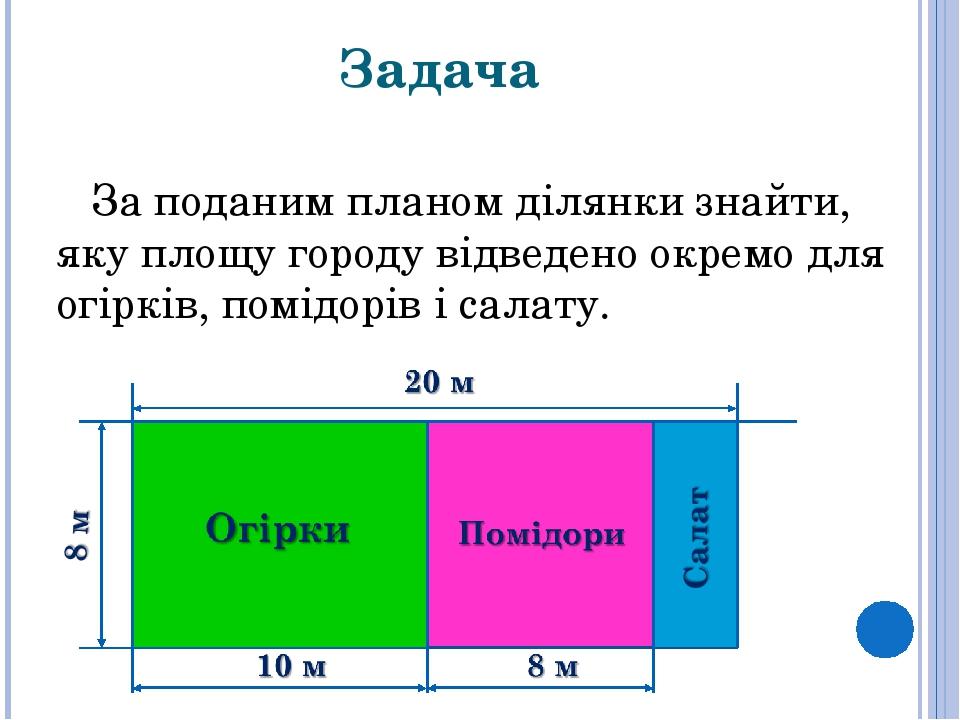 Задача За поданим планом ділянки знайти, яку площу городу відведено окремо для огірків, помідорів і салату.