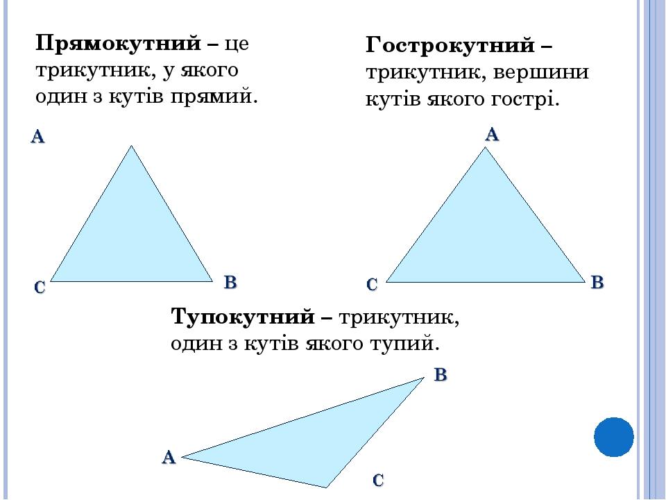 Прямокутний – це трикутник, у якого один з кутів прямий. Гострокутний – трикутник, вершини кутів якого гострі. Тупокутний – трикутник, один з кутів...