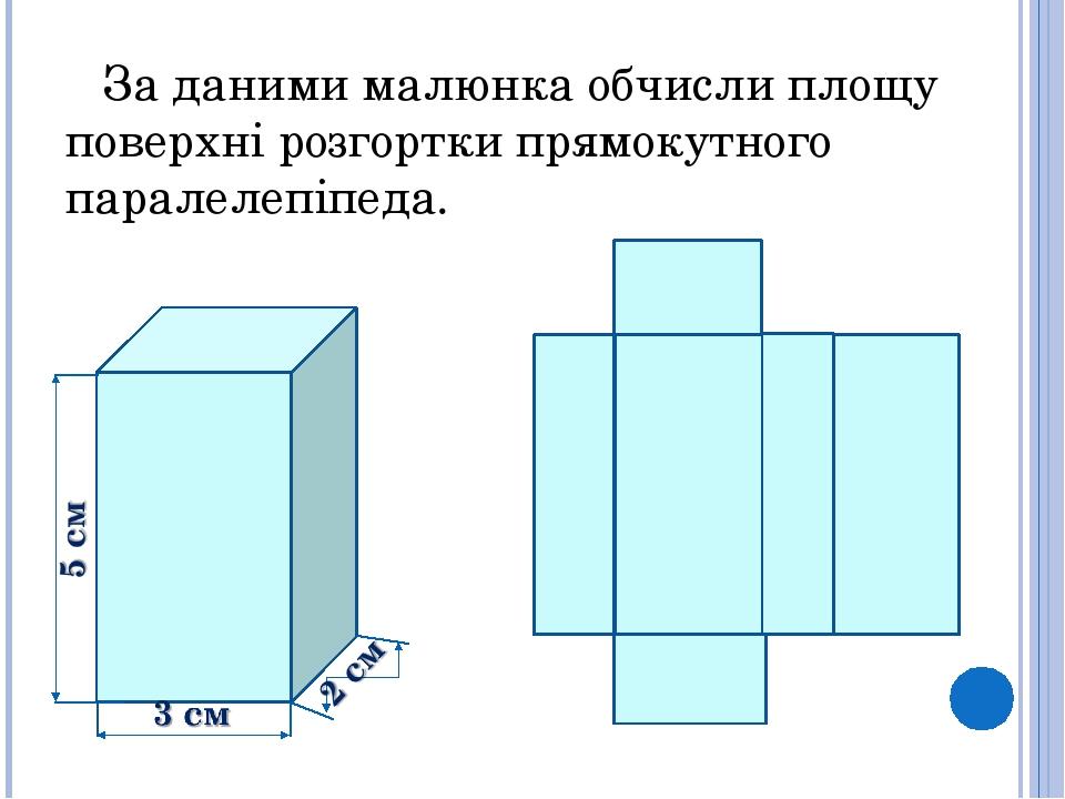 За даними малюнка обчисли площу поверхні розгортки прямокутного паралелепіпеда.