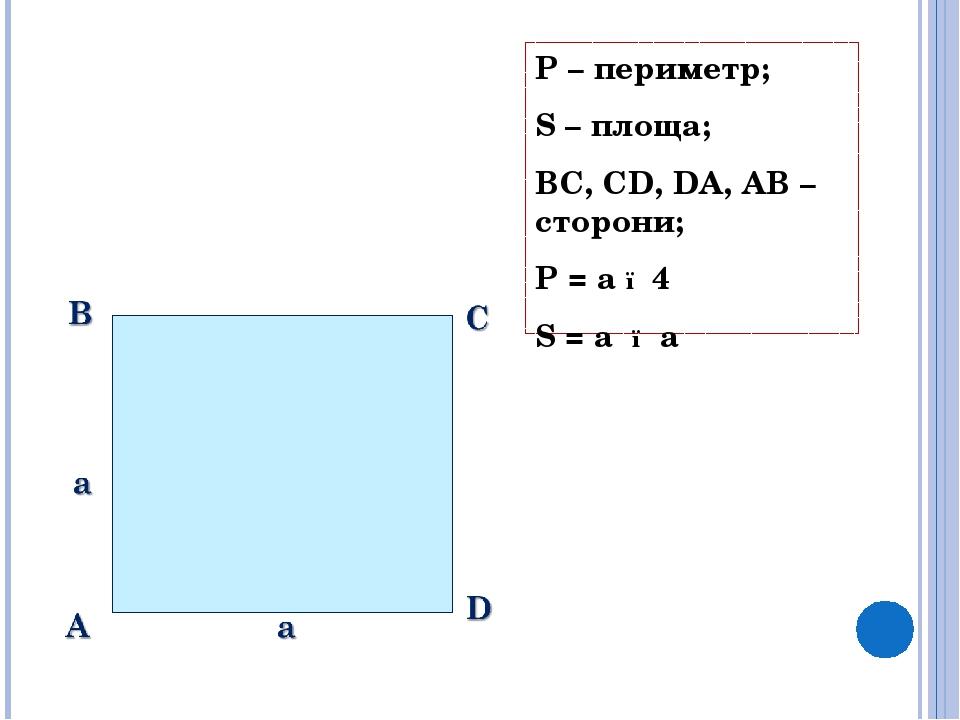 P – периметр; S – площа; BC, CD, DA, AB – сторони; P = a ● 4 S = a ● a