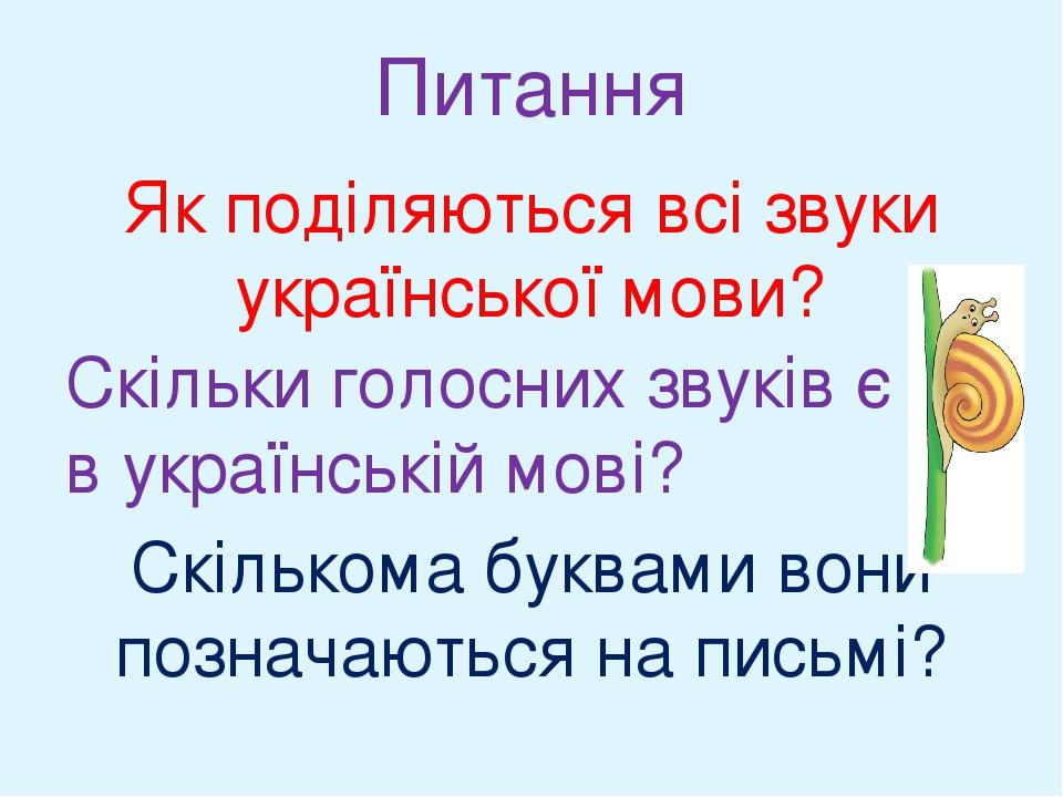Як поділяються всі звуки української мови? Скільки голосних звуків є в українській мові? Скількома буквами вони позначаються на письмі? Питання