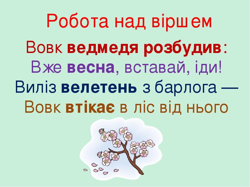 Робота над віршем Вовк ведмедя розбудив: Вже весна, вставай, іди! Виліз велетень з барлога — Вовк втікає в ліс від нього