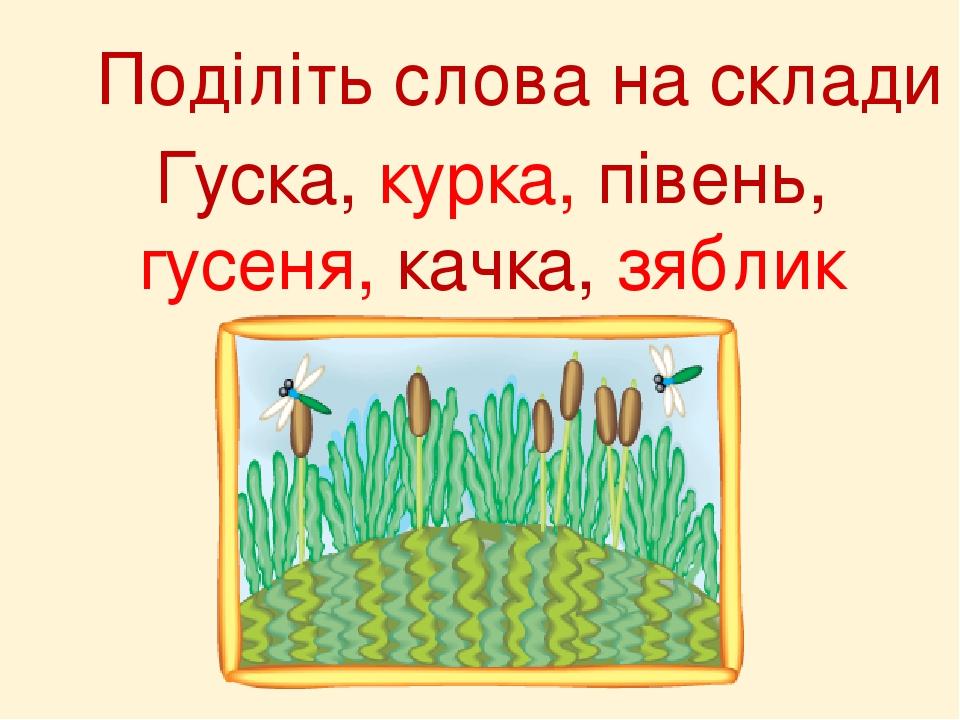 Поділіть слова на склади Гуска, курка, півень, гусеня, качка, зяблик