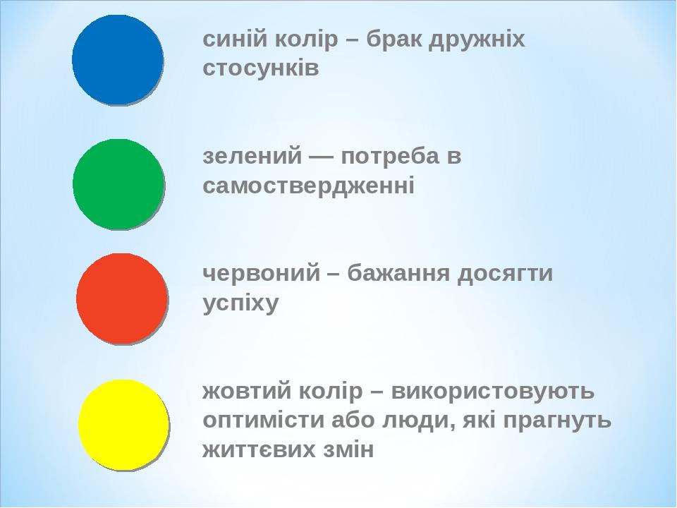 синій колір – брак дружніх стосунків зелений — потреба в самоствердженні червоний – бажання досягти успіху жовтий колір – використовують оптимісти ...