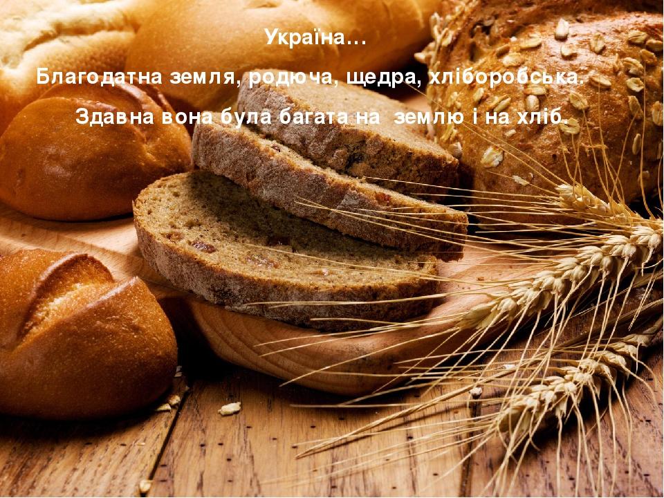 Україна… Благодатна земля, родюча, щедра, хліборобська. Здавна вона була багата на землю і на хліб.