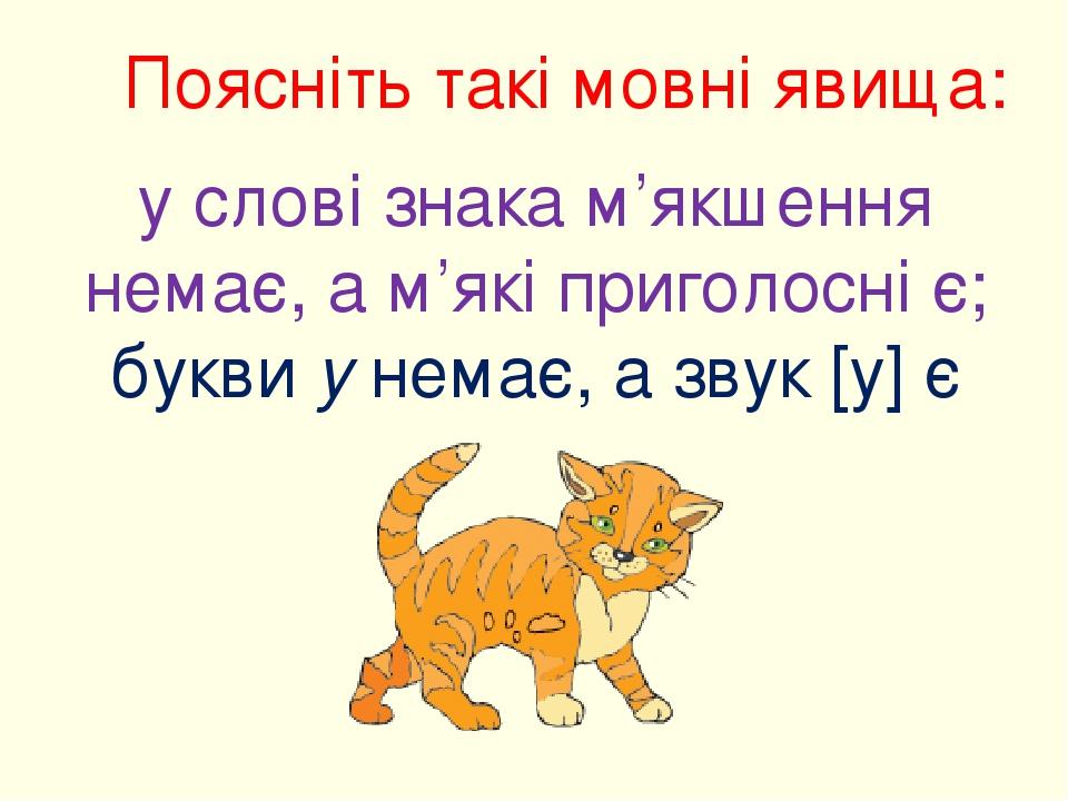 Поясніть такі мовні явища: у слові знака м'якшення немає, а м'які приголосні є; букви у немає, а звук [у] є