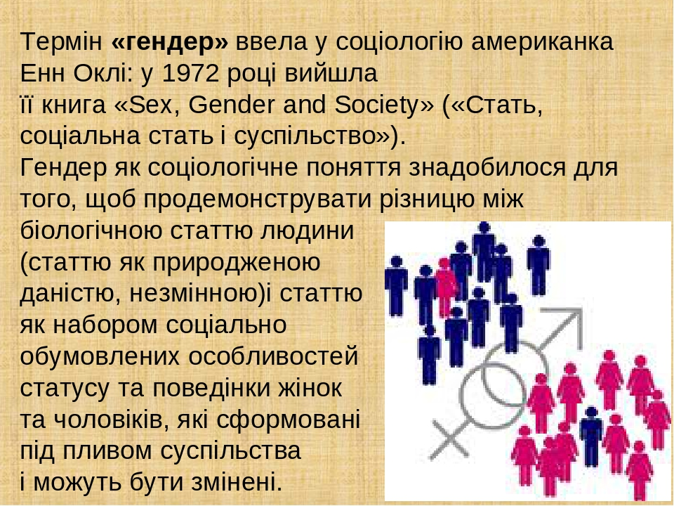 Термін «гендер» ввела у соціологію американка Енн Оклі: у 1972 році вийшла її книга «Sex, Gender and Society» («Стать, соціальна стать і суспільств...