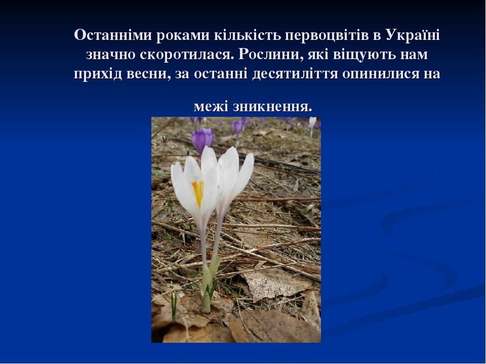 Останніми роками кількість первоцвітів в Україні значно скоротилася. Рослини, які віщують нам прихід весни, за останні десятиліття опинилися на меж...